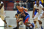 SMU's Jeremiah Samarrippas (12) dribbles against Ole Miss' Jarvis Summers (32) at the C.M. &quot;Tad&quot; Smith Coliseum in Oxford, Miss. on Tuesday, January 3, 2012. Ole Miss won 50-48.