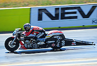 Sept. 25, 2011; Ennis, TX, USA: NHRA pro stock motorcycle rider Eddie Krawiec during the Fall Nationals at the Texas Motorplex. Mandatory Credit: Mark J. Rebilas-