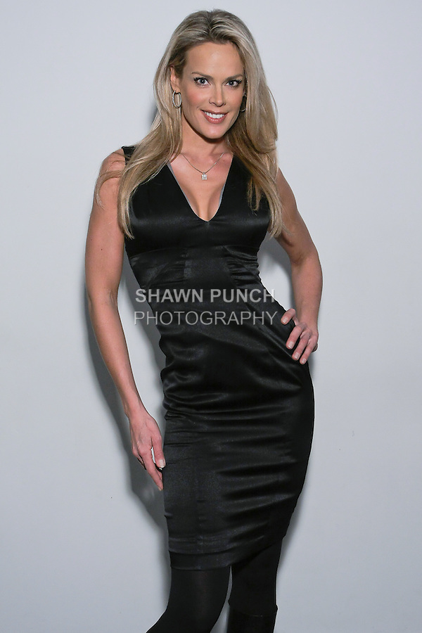 Super model Heidi Albertsen, poses in an outfit from the Rosa Pusher Fall Winter 2012 collection presentation, by Tammy Pusher, during New York Fashion Week Fall 2012.