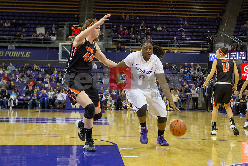 The  University of Washington women's basketball team hosts Oregon State at Alaska Airlines Arena on February 23, 2014. (Photo by Scott Eklund/Red Box Pictures)
