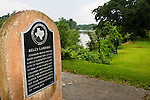 Historical marker at Bell's Landing, marking the site where in 1823 Josiah H. Bell's built a landing off the Brazos River for his plantation. Town  of Marion laid out in 1824 and later named East Columbia. Ferry dock location during during Texas Revolution. Important river port during Republic of Texas days..Brazos River, Brazoria County, Texas.