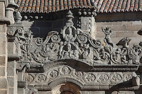 Detail of cornice, South facade, Museo Catedratico y Diocesano (Cathedral and Diocesian Museum), Avila Cathedral, 12th-14th centuries, Avila, Castile and Leon, Spain. Begun, 1095, in Romanesque style with fortifications, the style later switched to Gothic. Picture by Manuel Cohen