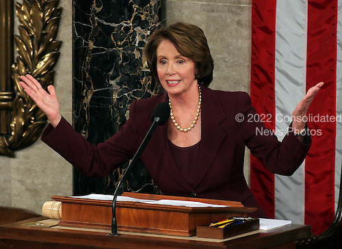 Washington, D.C. - January 4, 2007 --  United States Representative Nancy Pelosi (Democrat of the 8th District of California) makes remarks after she was sworn-in as the Speaker of the United States House of Representatives in the Capitol in Washington, D.C. on Thursday, January 4, 2007.  Speaker Pelosi is the first woman in U.S. history to serve in that position..Credit: Ron Sachs / CNP