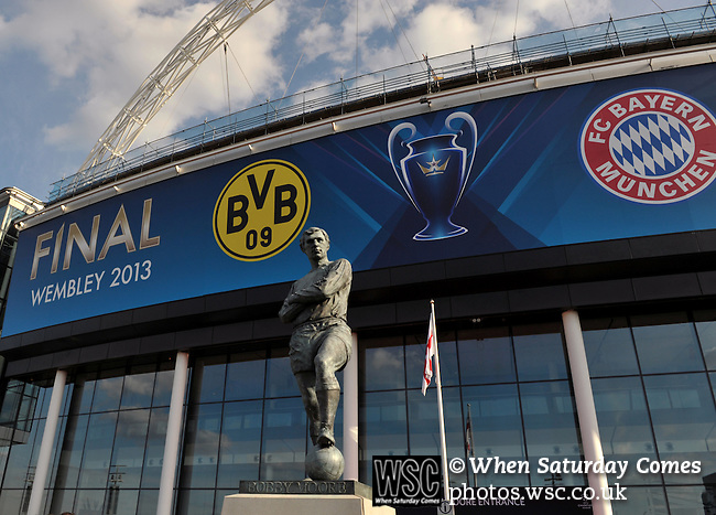 Bayern Munich 2 Borussia Dortmund 1, 25/05/2013. Wembley Stadium, Champions League Final. The first all-German Champions League final pitched Bayern, dominent domestically all season, against a Dortmund team who have troubled them so often in recent years. The Bobby Moore statue outside Wembley. Photo by Simon Gill.
