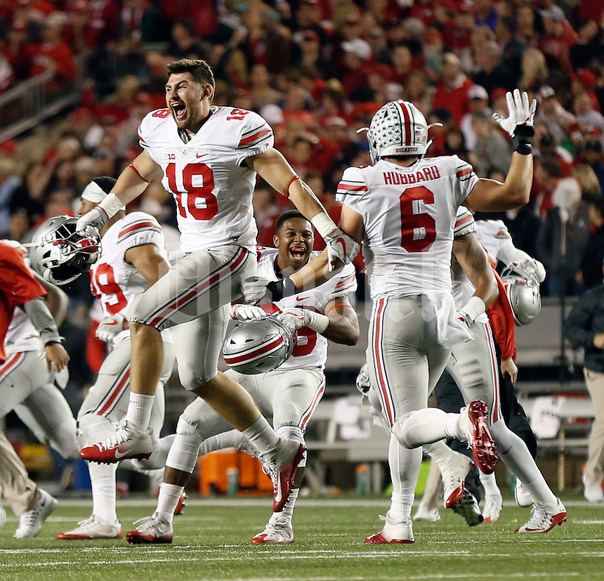 Ohio State Buckeyes tight end Chase Hounshell (18) celebrates after winning in overtime against Wisconsin Badgers during their game at Camp Randall Stadium in Madison, Wis on October 15, 2016.  (Kyle Robertson / The Columbus Dispatch)