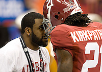 Mark Ingram of New Orleans Saints talks with Dre Kirkpatrick of Alabama before BCS National Championship game against LSU at Mercedes-Benz Superdome in New Orleans, Louisiana on January 9th, 2012.   Alabama defeated LSU, 21-0.