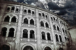Clouds on Plaza de Toros de Las Ventas, a famous bullring in Madrid (Spain)