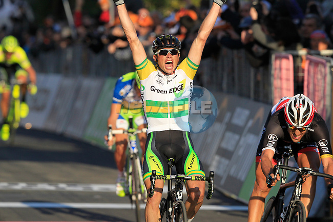 Simon Gerrans (AUS) GreenEdge Cycling Team outsprints Fabian Cancellara (SUI) Radioshack Nissan Trek and Vincenzo Nibali (ITA) Liquigas-Cannondale at the end of the 298Km Milan-San Remo cycle race, 17th March 2012 (Photo by Eoin Clarke/NEWSFILE)