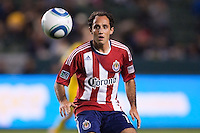 Nick LaBrocca (21) of Chivas USA keeps his eyes on the ball. Chivas USA and Columbus Crew played to a 0-0 tie at Home Depot Center stadium in Carson, California on  April  9, 2011....
