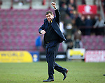 Hearts v St Johnstone&hellip;19.03.16  Tynecastle, Edinburgh<br />Tommy Wrgiht salutes the fans at full time<br />Picture by Graeme Hart.<br />Copyright Perthshire Picture Agency<br />Tel: 01738 623350  Mobile: 07990 594431