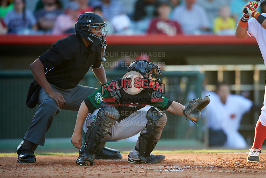 Umpire Jose Navas and Daytona Tortugas catcher Chris Okey (25) await the pitch during a game against the Florida Fire Frogs on April 6, 2017 at Osceola County Stadium in Kissimmee, Florida.  Daytona defeated Florida 3-1.  (Mike Janes/Four Seam Images)