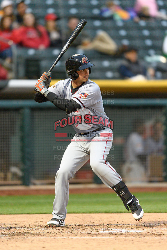 Jeff Arnold (19) of the Sacramento River Cats at bat against the Salt Lake Bees in Pacific Coast League action at Smith's Ballpark on April 11, 2017 in Salt Lake City, Utah. The River Cats defeated the Bees 8-7. (Stephen Smith/Four Seam Images)