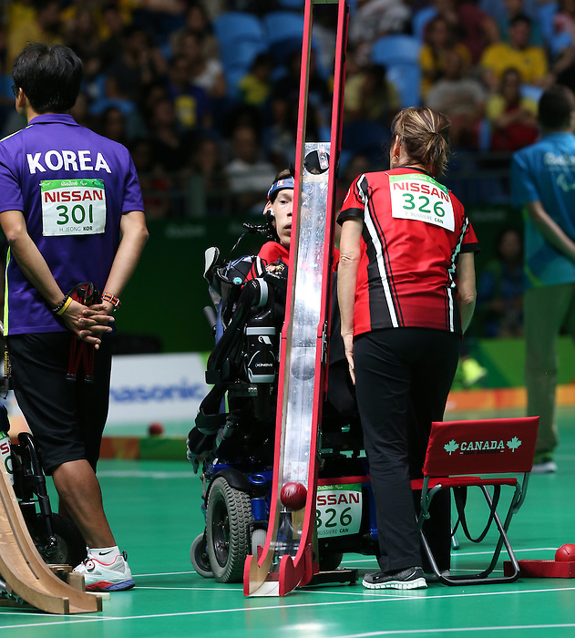 Rio de Janeiro-10/9/2016-Eric Bussiere competes in the mixed bocci event against Korea at the 2016 Paralympic Games in Rio. Photo Scott Grant/Canadian Paralympic Committee