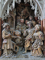 St James ordering Hermogenes' devils to bind him, from the series of the life of Saint James the Greater, 1511, high relief on the West side of the South transept in the Basilique Cathedrale Notre-Dame d'Amiens or Cathedral Basilica of Our Lady of Amiens, built 1220-70 in Gothic style, Amiens, Picardy, France. Amiens Cathedral was listed as a UNESCO World Heritage Site in 1981. Picture by Manuel Cohen