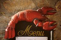 Europe/France/Bretagne/29/Finistère/Riec-sur-Belon: Détail d'un porte-menu représentant un homard