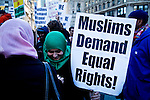 "Muslims holds a protest demanding ""detoxification"" of brainwashed Police officers and resignation of police top Brass in New York, USA.  January 3, 2012. Photo by Kena Betancur / viewpress"