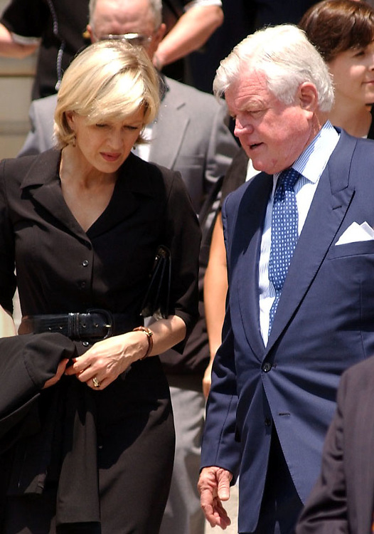 4funeral071901 - Sen. Ted Kennedy, D-MA, and jouranlist Diane Sawyer leave the National Cathedral for the funeral of former Washington Post publisher, Katharine Graham.