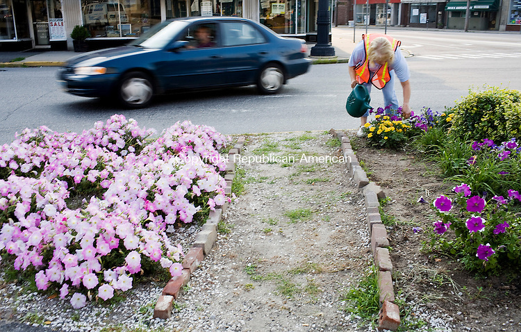 """TORRINGTON--18 July 08--071808TJ15 - Elaine Turri, of Torrington, a member of the Beautification Committee, waters flowers in a median on Main Street in Torrington on Friday, July 18, 2008.  """"John and I just get out here and do it,"""" said Elaine, who has been on the committee for nine years, """"you get satisfaction when people see you...they say 'you do such a nice job.'"""" (T.J. Kirkpatrick/Republican-American)"""