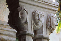 Capital with nuns' heads, atop pairs of 8-sided columns in the colonnade of the Cloister, built in late Romanesque style by Mihoje Brajkov of Bar in 1360, at the Franciscan monastery on Stradun or Placa, Old Town, Dubrovnik, Croatia. The city developed as an important port in the 15th and 16th centuries and has had a multicultural history, allied to the Romans, Ostrogoths, Byzantines, Ancona, Hungary and the Ottomans. In 1979 the city was listed as a UNESCO World Heritage Site. Picture by Manuel Cohen