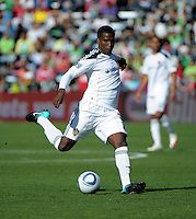 LA Galaxy forward Edson Buddle (14) shoots the ball.  The LA Galaxy tied the Chicago Fire 1-1 at Toyota Park in Bridgeview, IL on September 4, 2010