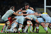 Juan Figallo of Saracens in action at a scrum. Aviva Premiership match, between Saracens and Worcester Warriors on November 28, 2015 at Twickenham Stadium in London, England. Photo by: Patrick Khachfe / JMP
