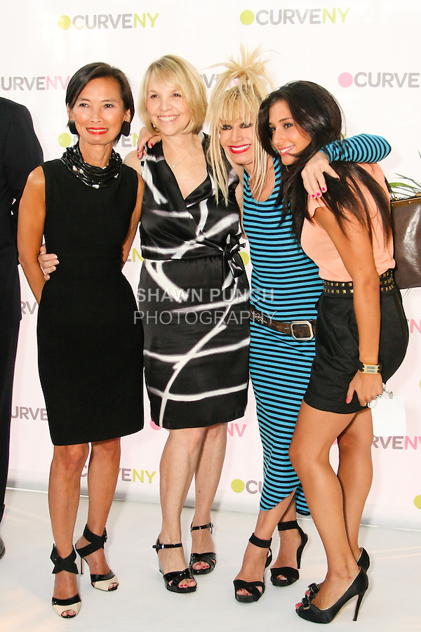 Josie Natori, Carole Hochman, Betsey Johnson, and guest at the CURVE and CFDA Party For A Cause event during the CURVENY Lingerie &amp; Swim show, at the Jacob Javits Convention Center, August 2, 2010.