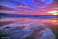 Fiery Ocean Sunset Low Tide  Reflections High dynamic range imaging (HDRI or HDR)