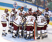 The Boston College Eagles huddle around their goal prior to the opening faceoff. The Michigan State Spartans defeated the Boston College Eagles 3-1 (EN) to win the national championship in the final game of the 2007 Frozen Four at the Scottrade Center in St. Louis, Missouri on Saturday, April 7, 2007.