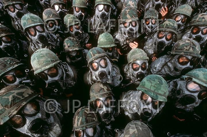 Fort Dix, NJ. May, 1980. <br /> Women's basic training against atomic radiation.