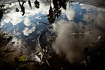 After a rainstorm, large puddles with contaminated water linger for days in the Parklawn neighborhood of Modesto, Calif., March 1, 2012.