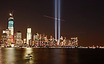 The Tribute in Light is illuminated during events marking the 11th anniversary of the 9/11 attacks on the World Trade Center in New York, United States. 11/09/2012. Photo by Kena Betancur/VIEWpress