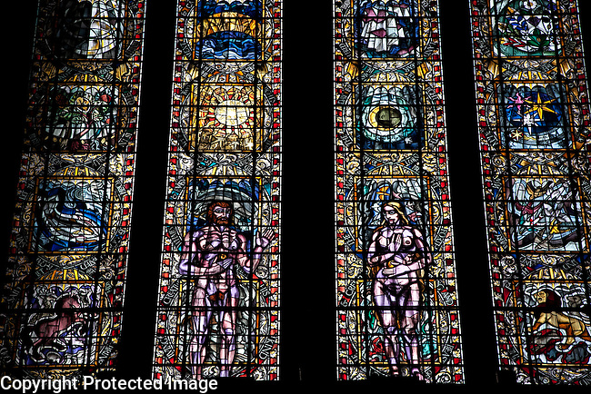 The Creation by Francis Spear Stained Glass Window in the Glasgow Cathedral