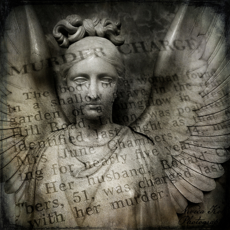 Stone angel with newspaper texture