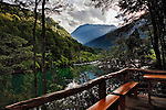 The Futalefu River in Chile at sunset, from the deck at The Bio Bio Expeditions camp.