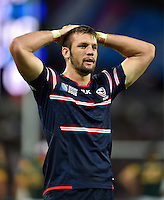 John Quill of the USA looks dejected after his team concede a try. Rugby World Cup Pool B match between South Africa and the USA on October 7, 2015 at The Stadium, Queen Elizabeth Olympic Park in London, England. Photo by: Patrick Khachfe / Onside Images