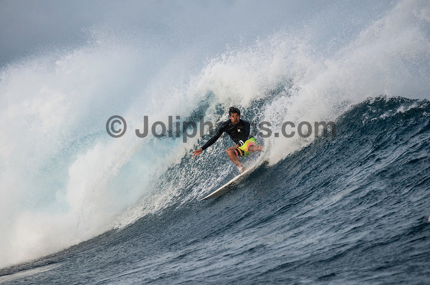 Namotu Island Resort, Namotu, Fiji. (Monday June 2, 2014) Miguel Pupo (BRA) – The 2014 Fiji Pro was called on this morning with the swell running in the 3' plus range. The start was delayed till 10.30 am because of the 9.30 high tide. . Photo: joliphotos.com
