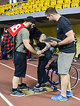 MONTREAL, QC - APRIL 29:  A participant takes part in a weigh-in during the 2017 Montreal Paralympian Search at Complexe sportif Claude-Robillard. Photo: Minas Panagiotakis/Canadian Paralympic Committee