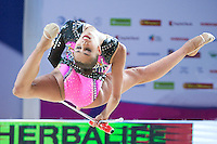 RITA MAMUN of Russia performs with clubs at 2016 European Championships at Holon, Israel on June 18, 2016.