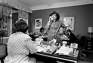August 31st, 1977, Manhattan, New York City. Regine Davis in her office above Le Reginette 69 East 59th Street.