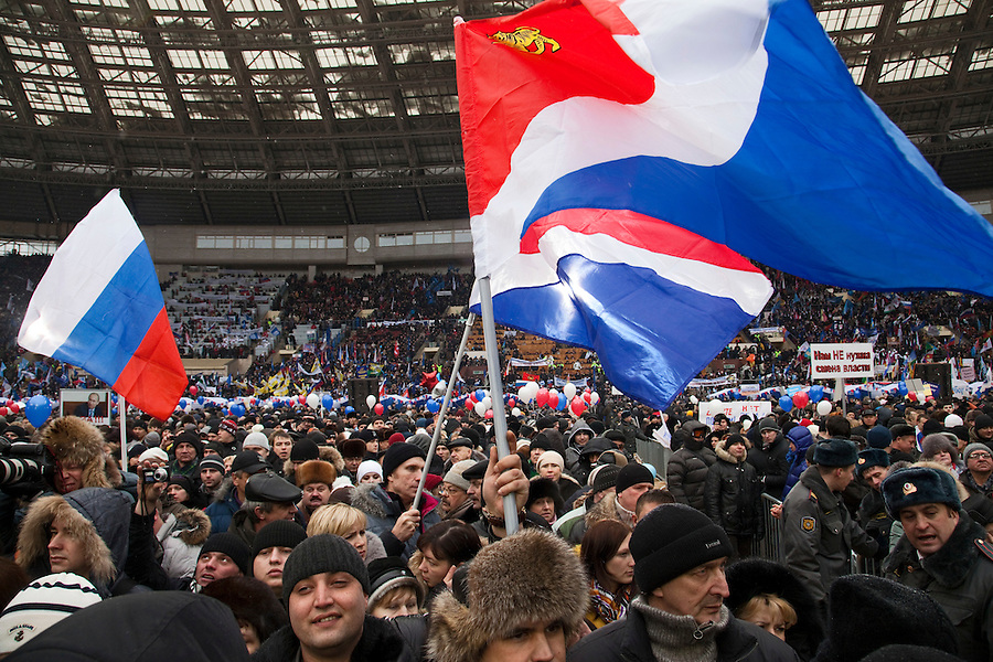 Moscow, Russia, 23/02/2012..Some 130,000 people attend a rally at Luzhniki sports stadium supporting Prime Minister Vladimir Putin&rsquo;s presidential election campaign.