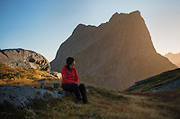 Evening glow among mountains from camp kitchen, Moskenesøy, Lofoten Islands, Norway