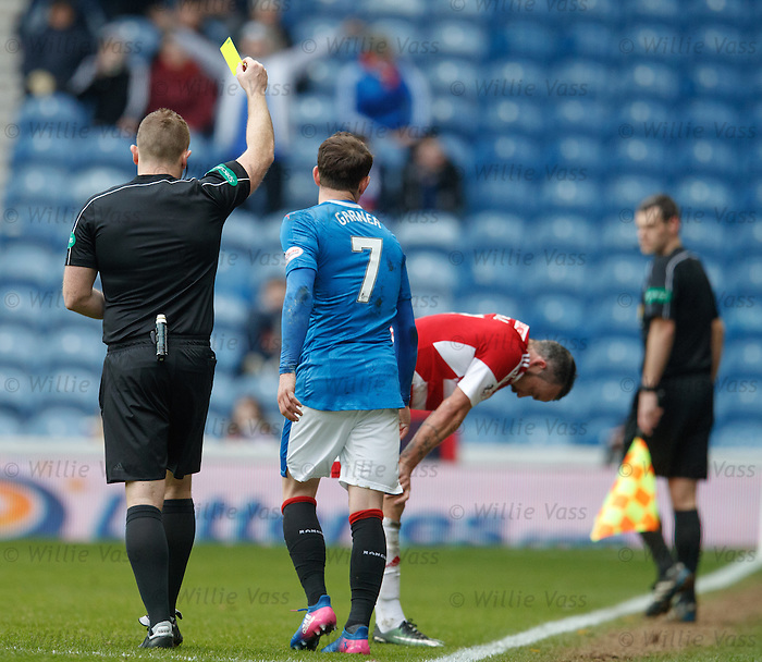 Joe Garner booked by ref John Beaton after tackling Dougie Imrie