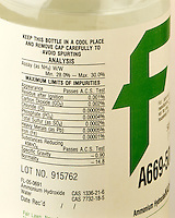 AMMONIUM HYDROXIDE ANALYSIS LABEL<br /> Manufacturer's Bottle<br /> Label shows percentage of solution &amp; specific gravity which are necessary to calculate molarity of solution. A solution of 28-30% NH3 in water.  Also known as ammonia water.