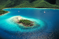 "aerial Watermelon Cay (proun """"key"""") Leinster Bay St John. St John, US Virgin Islands Caribbean."