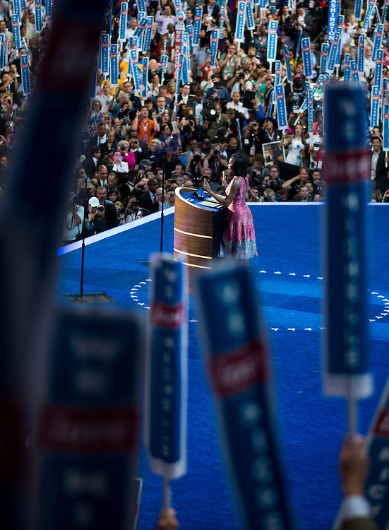 UNITED STATES - SEPTEMBER 4: First Lady Michelle Obama speaks to the Democratic National Convention at Time Warner Cable Arena in Charlotte, N.C., on Tuesday, Sept. 4, 2012. (Photo By Bill Clark/CQ Roll Call)
