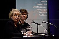 Madeleine Korbel Albright, former United States Secretary of State - 2011<br /> <br /> London, 02/12/2011. Today LSE (London School of Economics) presented a public lecture called &quot;Global Political Challenges: Women Advancing Democracy&quot; hosted by the former and first woman to be United States Secretary of State, Madeleine Korbel Albright. Chair of the event was Karen Smith (Professor of International Relations and Director of the European Foreign Policy Unit at LSE).