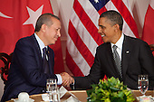 United States President Barack Obama, right, shakes hands with a bilateral meeting with Prime Minister Recep Tayyip Erdogan of Turkey, left, at the United Nations General Assembly in New York, New York on Tuesday, September 20, 2011. .Credit: Allan Tannenbaum / Pool via CNP