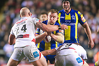 Picture by Alex Whitehead/SWpix.com - 16/03/2017 - Rugby League - Betfred Super League - Leigh Centurions v Warrington Wolves - Leigh Sports Village, Leigh, England - Warrington's Mike Cooper is tackled by Leigh's Glenn Stewart and Micky Higham.