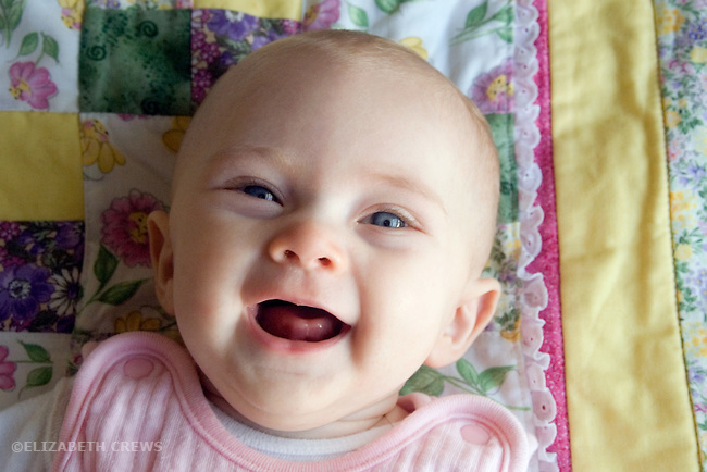 Berkeley CA Baby, four-months-old in very happy mood  MR