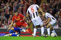 LIVERPOOL, ENGLAND - Thursday, October 4, 2012: Liverpool's Luis Alberto Suarez Diaz sees his shot blocked against Udinese Calcio during the UEFA Europa League Group A match at Anfield. (Pic by David Rawcliffe/Propaganda)